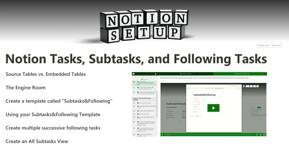 Notion Setup Tasks Subtasks and Following Tasks course teach learn latest